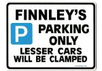 FINNLEY'S Personalised Gift |Unique Present for Him | Parking Sign - Size Large - Metal faced